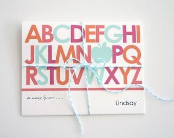 Personalized Teacher Holiday Gift Idea Alphabet Note Card Set Stationery Elementary Kindergarten Preschool Custom Appreciation Present Apple