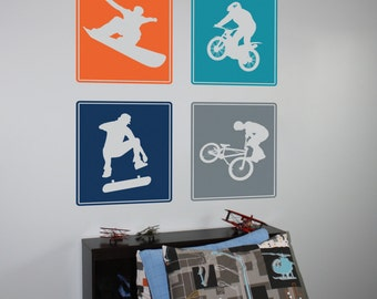 Extreme Sports- BMX, Dirt Biker, Snowboarder, and Skater Vinyl Wall Decals
