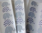 50  pc  Paper Elephant Stickers   Gray  Gray and White  Chevron  New Baby   Birthday