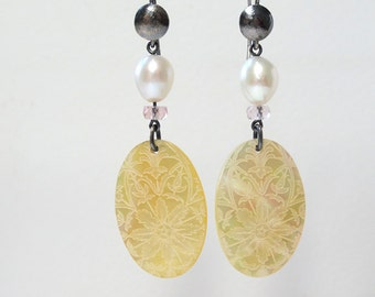 Mother of Pearl Tourmaline Earrings Oxidized Hippie Chic