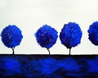 "Commission Art Painting ""Blue"" trees painting by Bryan Dubreuiel Original 24 by 48 trees silhouette landscape art artist painting paint"