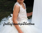 Lace Flower Girl Dress . Tutu skirt . Halter Top  ... sizes up to a 5T