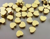 4 SHINY gold 7mm heart beads, love beads, heart spacers, beads for charm bracelets necklaces earrings 1840-BG-7 (bright gold, 7mm, 4 pieces)