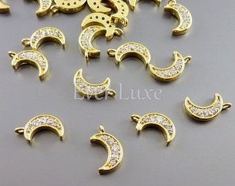 4 tiny simple moon Cubic Zirconia CZ pave charms, CZ jewelry pendants, supplies for jewelry / jewellery 971-BG