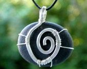 Natural Beach stone silver spiral design wire wrap handmade reversible pendant