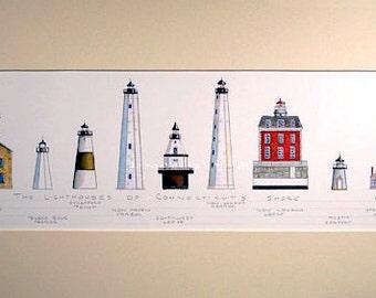 "Lighthouses Connecticut Art Signed Robert Kline 10"" x 20"" Matted Print Mystic Sea Port Light New Haven Harbor Nautical Beach Home Boat Decor"
