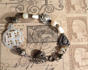 Upcycled Vintage Mother of Pearl Religious Treasures Assemblage Bracelet,OOAK,Repurposed