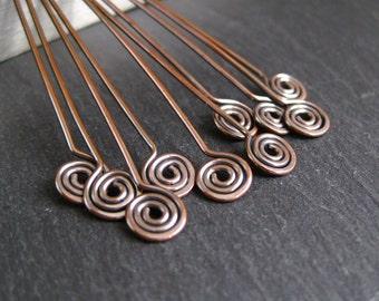 Spiral headpins, copper spirals, spiral pins, antique copper, 10 headpins, 2.5 inches long, handmade jewelry supplies, copper findings, 20g