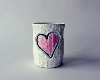Pink Heart Office Pencil holder / little carved heart / sweet office gift / desk accessory
