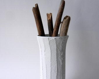 White Vase / 9 inch vase /  white home decor / neutral home decor / minimalist home decor