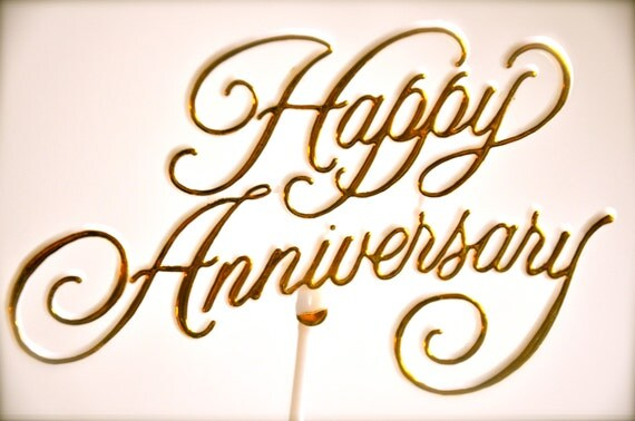 Happy Anniversary Cake Topper Pick Gold