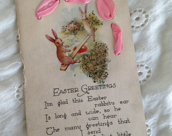 Antique layered Easter postcard with bunny, pink ribbon and glitter