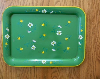 Vintage Large Green Floral Print Tray
