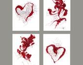 "Mother's Day, heart Art - four seasons of love - set of 4 - 8.5"" x 11"" , artwork print"
