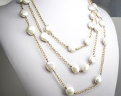 White Pearl Statement Necklace, Multi strand Necklace, Pearl Necklace, Wire Wrapped Necklace, 3 strand Pearl Necklace, SKU 2920