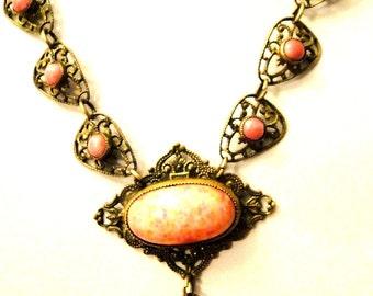Beautiful Victorian Art Nouveau Coral Speckle Czech Art Glass Open Back  Brass Filigree Vintage Antique Necklace