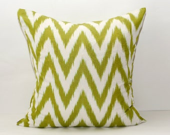 20x20, green, chevron, ikat pillow, chevron cushion, ikat cushion, zig zag, cushion, ikat pillow cover, zig zag pillow, chevron ikat pillow