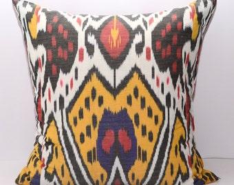 20x20, ikat pillow, ikat cushion, uzbek ikat, red, yellow, white, pillow, yellow pillow, yellow cushion, ikats, thrwo pillow, accent pillow