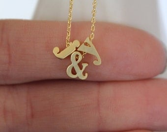 Tiny Gold Ampersand and Initial Necklace...Small & Necklace..Monogram jewelry..Lower Case Minimalist bridal party jewelry gift idea birthday