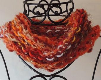 REDUCED PRICE! Shades of Orange Multi-Yarn Circle Scarf Infinity Scarf Cowl