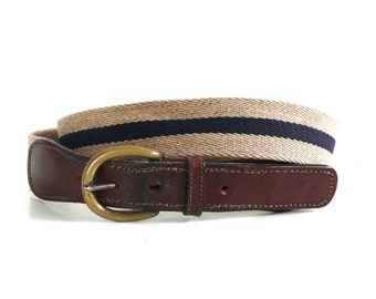 Vintage Striped Wool and Leather USA Belt // Size 34