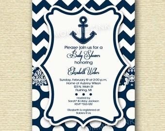 Navy and White Chevron Damask and Polka Dots Anchor Baby Shower Invitation - PRINTABLE INVITATION DESIGN