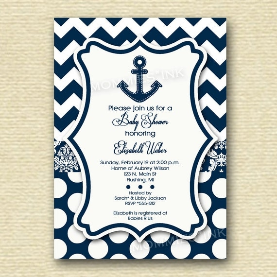 polka dots anchor baby shower invitation printable invitation design
