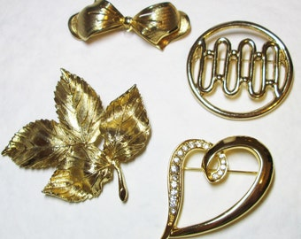 Collection of Vintage Gold Tone Brooches