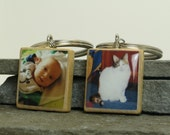 CUSTOM Photo Keychain on Wooden Scrabble tile - Using YOUR photo - pets, kids, travel photos