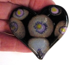 Dreamy Black Heart  Brooch with Purple  Polka Dots