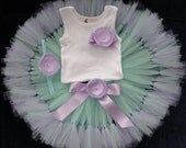 Mint and Lavender Birthday Tutu Dress, Baby Girls Birthday Outfit