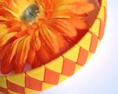 Yellow, Orange Flower - Woven Headband Set - Handmade - Orange, Yellow Woven Headband & Flower Hair Clip Set - Summer, Spring Headband Set