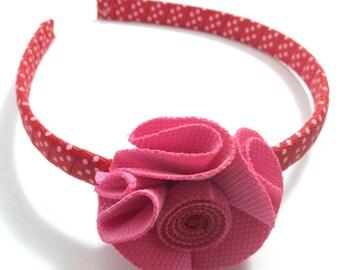 "Red - Pink Wrapped 1/2"" Headband 2"" Fabric Hair Flower Set - 11mm Wrapped Headband - Handmade"