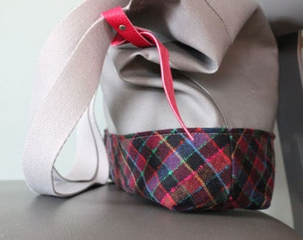 Vintage wool and canvas Tote Bag Organic Cotton Lining // le sac de ville