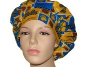 Bouffant Surgical Scrub Hat - UCLA Bruins Block Print Fabric