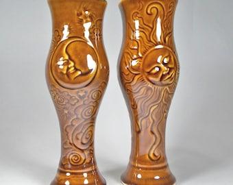 Amber Pilsner Beer Glass, Decorative Carvings of the Sun, Moon, Stars-Handmade Stoneware-Original Design- Renaissance and Fantasy Fest