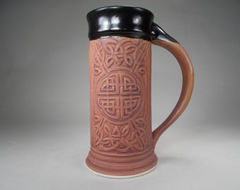 New Celtic Beer Stein in Ancient Earth Stain Stoneware Pottery for Celtic Weddings, Renaissance Faire, Home Bar Accessory, Kitchen, Dining