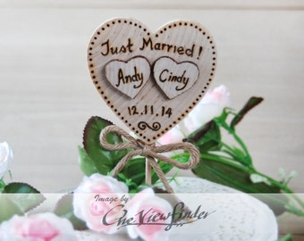 Customize Rustic Wedding Cake Topper -Heart, Just Married, Initial, Rustic wedding Deco