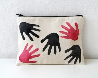 Hand Printed HANDS Zip pouch, hand stamped women fashion zipper bag - 108