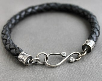 CLEARANCE Mens Braided Black Leather Bracelet Silver Hook Clasp