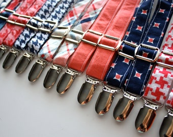 Little and Big Guy Suspenders - Navy and Coral Collection - (Newborn-Adult) - Baby Boy Toddler Teen Man - (Made to Order)