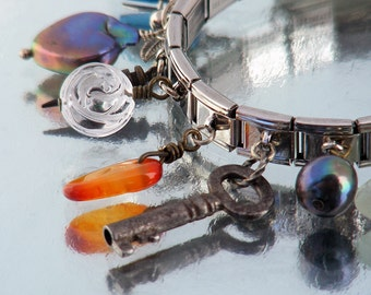 Summer Charm Bracelet with Vintage Charms | Colorful Summer Sea Beach Colors, Orange & Blue - 7 inch Charm Stretch Stainless Steel Bracelet