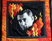 Johnny Cash's Ring of Fire, quilted portrait