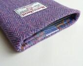 Harris Tweed  Kindle Voyage sleeve in lilac herringbone - made to fit all Kindle devices