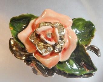 Vintage Peach Flower Brooch.  Rhinestones. Enamel. 1940s.