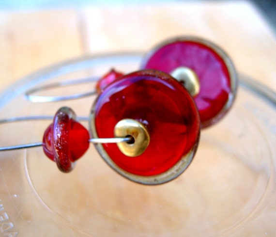 Handmade Jewelry, Lampwork Earrings, Holiday Fashion Crimson Red, Bright Golden Lampwork Jewelry Gift for Valentine