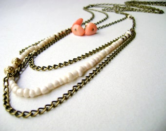 Bohemian layering neclace - Ivory Coral - Set Bohemian style - multi strand necklace - bohemian long necklaces