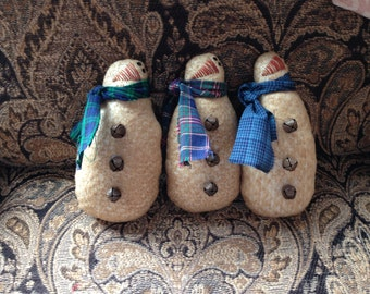 Primitive Christmas Skinny Snowman Ornaments Ornie Bowl Fillers