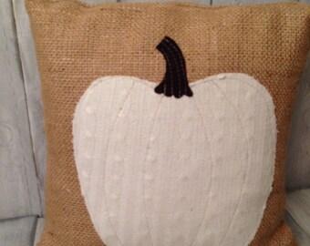 pumpkin pillow, burlap pillow, pumpkin decor, farmhouse decor, farmhouse pillow, home decor, throw pillow, decorative pillows, white pumpkin