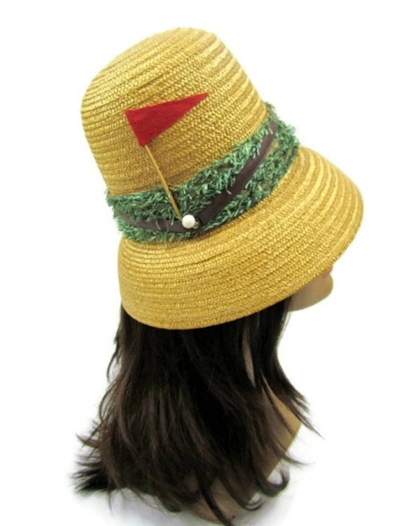 1950s straw golf hat bucket style with artificial turf, flags and golf balls made in Italy for Montgomery Wards